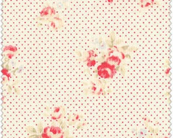 Durham  Cotton Fabric  by Lecien Small Roses on Pink Pin Dot Background  31072-20