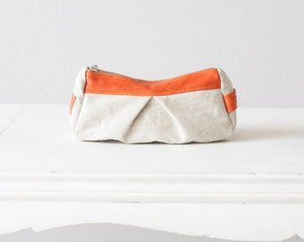 Offwhite Cosmetic bag, makeup case in cotton canvas and Orange leather - Estia Bag