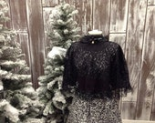 Charles Dickens Christmas Victorian Dress with Lace Shawl and sash for that Romantic Dramatic Look