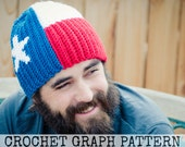 CROCHET GRAPH - Texas Flag Color Grid for Crochet or Knit Beanies