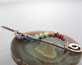 Cardigan clasp or shawl pin in wavy vine design with wrapped rainbow palette - Cardigan clasp - Shawl pin - Multicolor pin