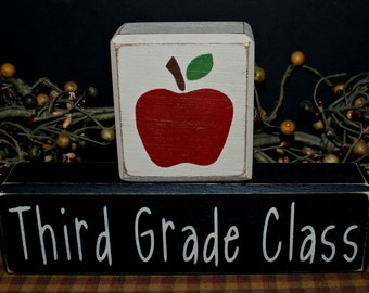 Third Grade Class primitive wood blocks sign