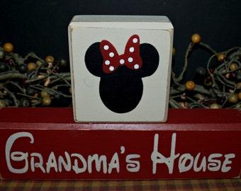 Minnie Mouse Grandma's House primitive wood blocks sign