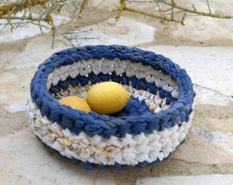 Upcycled crocheted bowl Blue mustard and cream, Eco friendly fabric basket TAGT