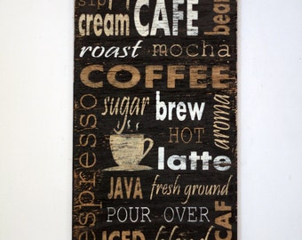 Coffee Sign Rustic Sign Wood Wall Art Coffee Kitchen Decor Wooden Sign