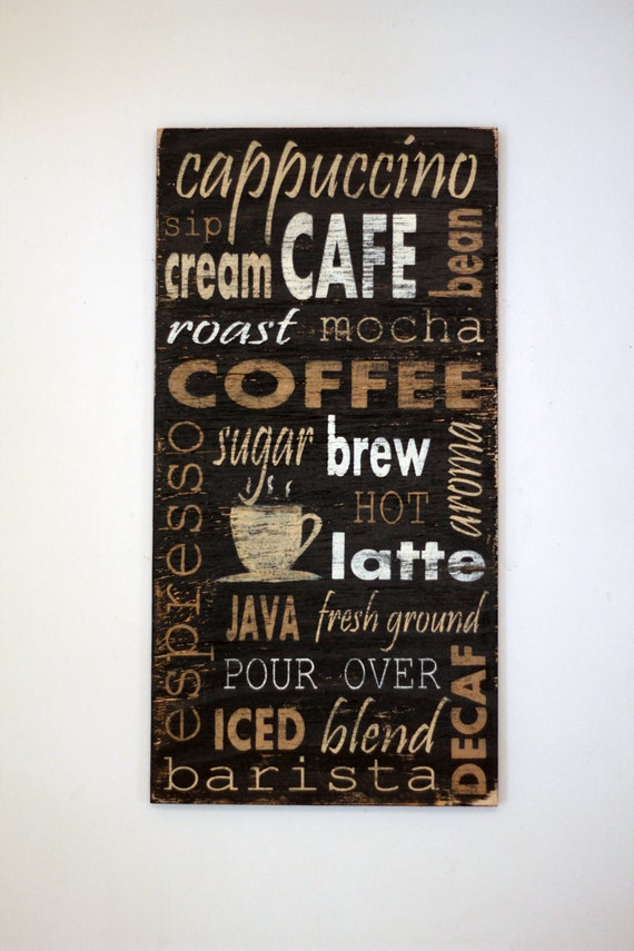 Sign Rustic Sign Wood Wall Art Coffee Kitchen Decor Wooden Sign