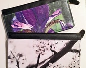 LEATHER ZIP WALLET - Floral.  Shown in Black Cherry and Purple Iris Images.