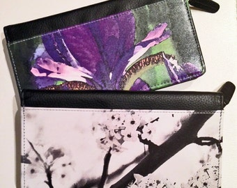 LEATHER CHECKBOOK WALLET - Women's Zippered Accessory - Floral - Abstract Photography.  Shown in Black Cherry and Purple Iris Images.