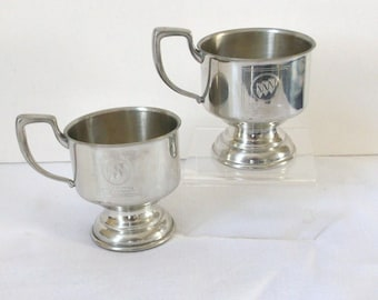 Kirk Stieff Pewter Cup Holder Pair..Coffee Cup Holders..1980's Engraved Buick Advertising Items
