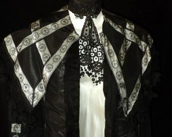 AMAZING Turn of the Century Silk Lace Coat Jacket Edwardian Large Collar Rare Pleated Silk