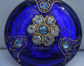 Elegant Rhinestone Czech Glass Button
