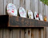 "Shelf with Plate Groove - Rustic Home Decor - Reclaimed Wood - Shelf - Floating Shelf - Rustic Wall Shelving - Box Shelf - Cabin - 48"" Long"