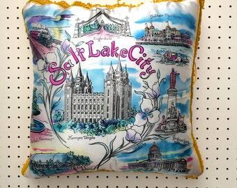1950s Salt Lake City Souvenir Pillow Cushion