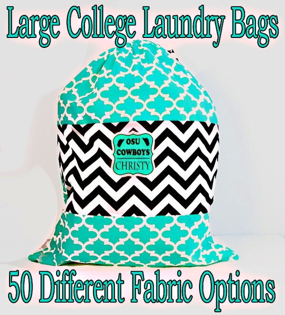 College Laundry Bag, Large Monogrammed Laundry Bag, laundry tote bag, 20 x 30 Drawstring Closure, Color Block Style, Pick from 50 Patterns