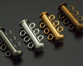 4 Slide Lock Clasps - 3 Strands - 21mm X 6mm - You Pick Finish - 100% Guarantee