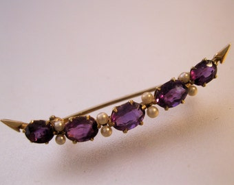 Edwardian 14k Amethyst & Seed Pearl Crescent Brooch Pin Antique Jewelry Jewellery