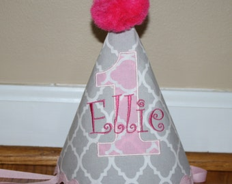 girls first birthday party hat, girls 1st birthday, cake smash outfit, pink and gray quatrefoil, 1st birthday hat, girls first birthday