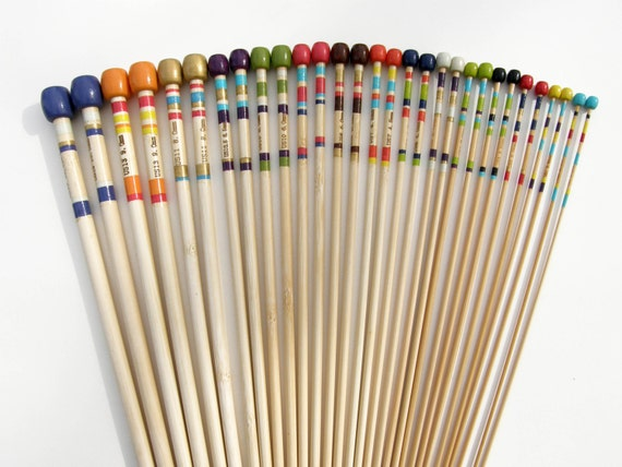 Knitting Needles Paint Kitchen : Set of knitting needles hand painted single by fiberhuis