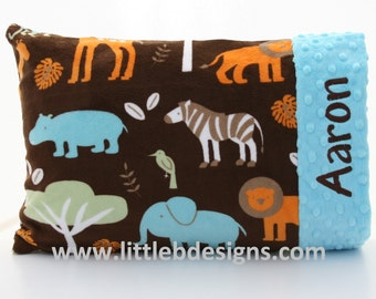 Personalized Boy Toddler Pillow Case and Pillow -  30 Different Minky Colors Available