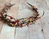 Rustic crown, woodland headband, fall headpiece, berry crown, branch crown, hair accessory by Gardens of Whimsy on Etsy