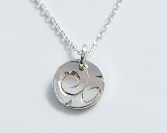 Silver Disc Charm Pendant Necklace Hand Engraved Vine Minimal Jewelry