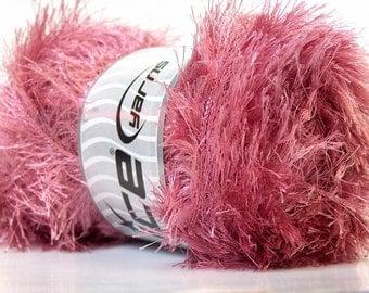 LG 100 gram Rose Pink Eyelash Yarn Ice Fun Fur 164 Yards 22725