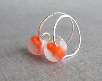 Frosted Orange Earrings, Small Silver Wire Hoop Earrings, Silver Hoops, Orange Hoops, Orange Lampwork Earrings, Sterling Silver Small Hoops