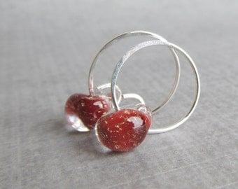 Brick Red Earrings, Red Lampwork Hoop Earrings, Small Wire Hoops, Small Red Hoops, Sterling Silver Wire Earrings, Glass Drop Hoops Red