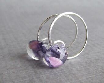 Purple Swirl Earrings, Small Purple Earrings, Small Hoops, Sterling Silver Hoop Earrings, Purple Lampwork Earrings, Sterling Silver Earrings