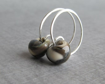 Olive Swirl Earthy Earrings, Green Brown Hoops, Green Lampwork Earrings, Small Silver Wire Earrings, Sterling Silver Wire Handmade Hoops