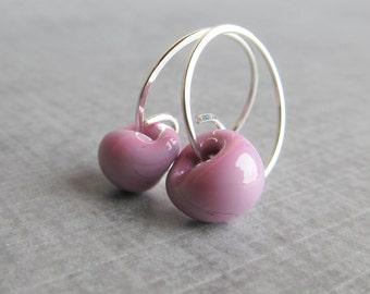 Dusty Pink Earrings, Pink Purple Earrings, Small Wire Hoops, Small Earrings, Pink Lampwork Earrings, Sterling Silver Wire Earrings Pink
