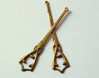 Oxidized Brass Art Deco Dangle Charms - Earring Findings