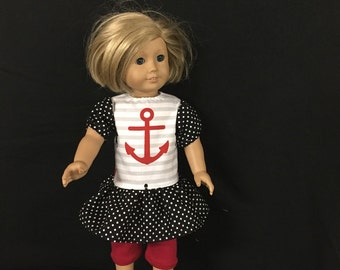 Doll Clothes for American Girl Dolls or Most Other 18 Inch Dolls, Anchors Away Ship Wheel Red White Black Gray Beach Dress Top With Leggings