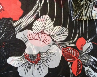 Vintage Fabric 70's Polyester, Black, Red, White, Sheer, Material, Textiles