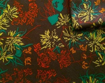 Vintage Fabric 70's Polyester, Brown, Floral, Material, Textiles