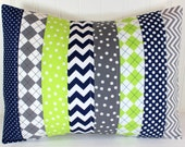 Pillow Cover, Baby Boy Nursery Decor, Patchwork Pillow Cover, Crib Bedding, 12 x 16 Inches, Navy Blue, Gray and Lime Green Chevron Dot