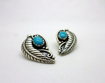 Vintage Sterling Silver and Turquoise Clip On Earrings