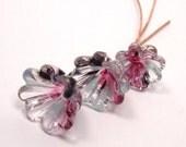 Handmade lampwork headpins  - Twilight Flowers  -  pink, purple, blue, lampwork bell flowers, floral headpins, glass headpins