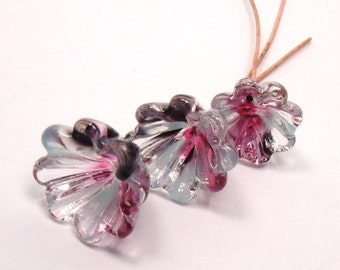 Handmade lampwork headpins  - Twilight Flowers  -  pink, purple, blue, lampwork bell flowers, floral headpins, glass headpins