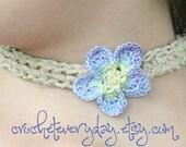 periwinkle flower hemp choker