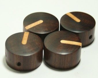 Set of 4 Cocobolo Guitar Knobs with Ash Line Indicator (15/16 dia x 9/16h)