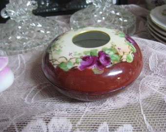 Limoges France Hair Receiver, Vintage Hair Receiver, Porcelain Painted Hair Receiver, Round Dish with Hole in Lid, Flowered Dresser Dish