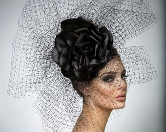 Black couture Headpiece, Avant garde hat, Haute Couture hat, High Fashion hat.