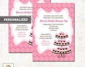 Pink Cupcake Tea Party Bridal Shower Invitation, Printed or Printable