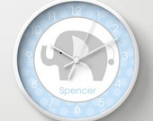 """Mod Elephant Gray and Blue Baby Nursery Wall Clock 10"""" soft tick, choose frame color, hands and personalization"""