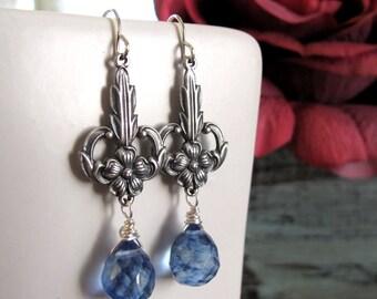 Vintage Dangle Earrings, Silver Flower Earrings, Blue Drop Earrings Briolettes - SOMETHING BLUE