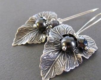 Large Leaf Earrings, Antique Silver Earrings, Pearl and Leaf Long Dangle Earrings, Vintage Inspired - DEW DROPS