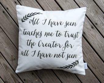 Typography Pillow / Pillow Cover / Throw Pillow / Inspirational / Home Decor / Ralph Waldo Emerson