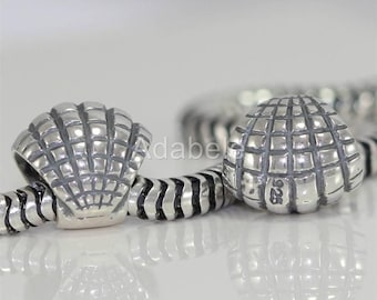 1 Authentic Sterling Silver Charm Sea Shell Freedom Bead For European charm bracelet EC224