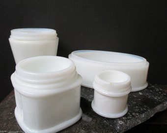 Vintage Milk Glass Jars, set of 4, instant collection, White Glass Jars, Cosmetic Jars, 1960s, Rustic Wedding Decor